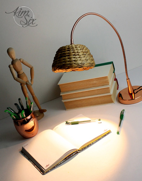 Ikea copper desk lamp with wicker shade