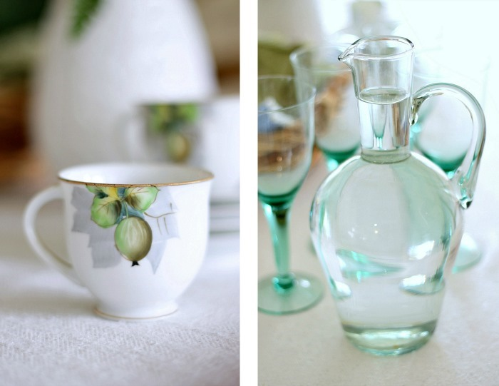 Green Glass Coastal Decor Pitcher and Tea Cup