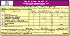 Assam University Notice 2017 www.indgovtjobs.in
