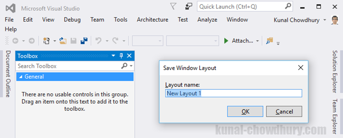 Visual Studio 2015 Tips & Tricks - Save a Visual Studio layout (www.kunal-chowdhury.com)
