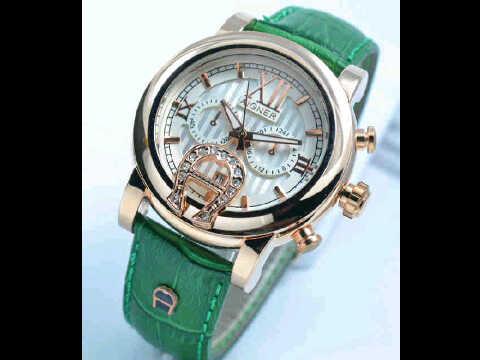 Jual jam tangan Aigner romawi ring polos green