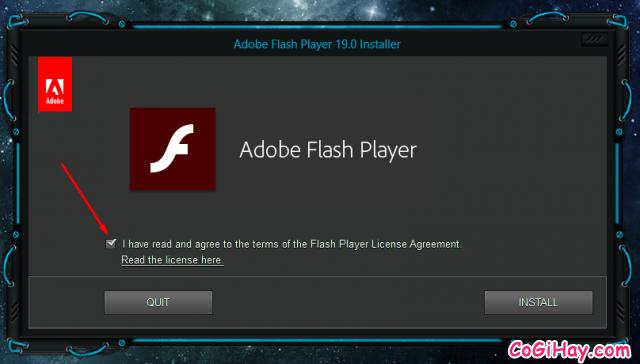 đồng ý thỏa thuận nâng cấp flash player