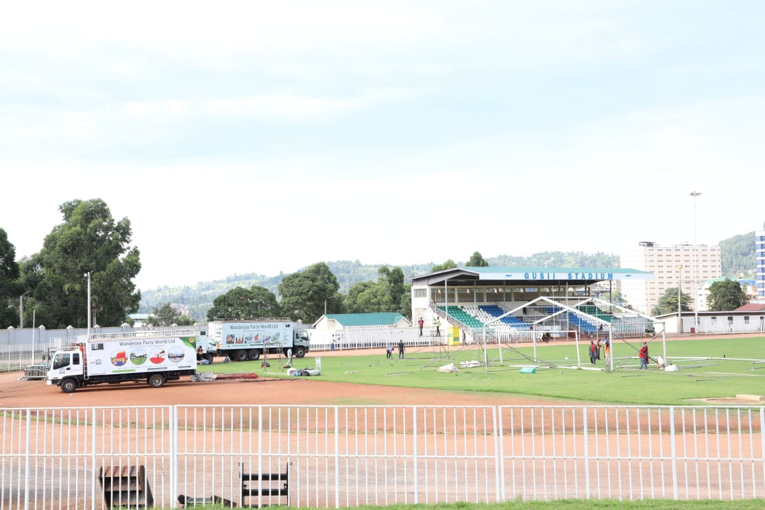 Kisii sports club ground being prepared for BBI. PHOTO | BMS