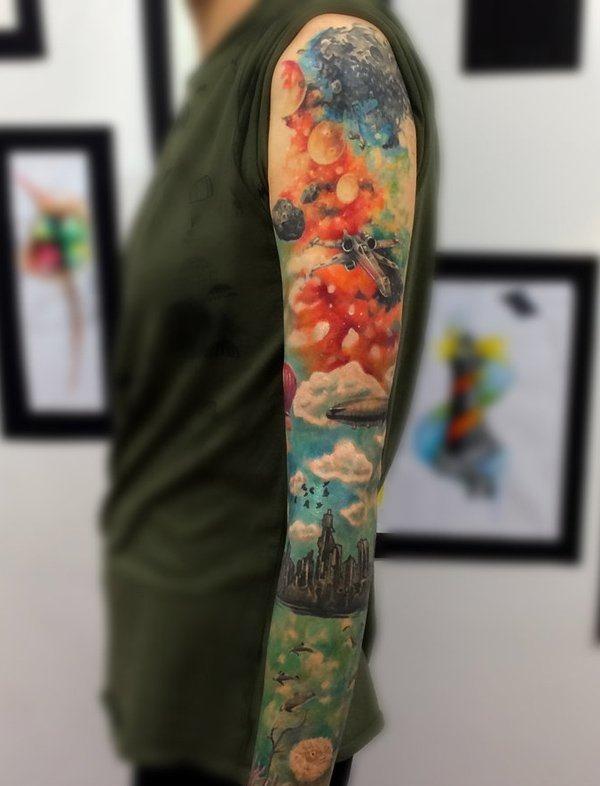 a_terra_e_o_espaço_de_manga_tatuagem