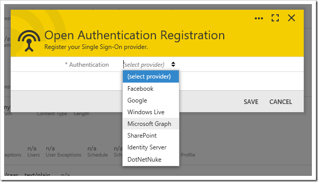 Selecting an authentication provider on the Open Authentication Registration wizard.