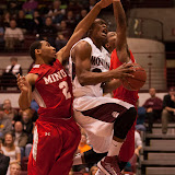 Kareem Jamar is fouled on his way to the rim during the first period of Wednesday's victory.  Jamar ended the night with 18 points and five assists.  Dahlberg Arena in Missoula, Mont., November 14th, 2012.