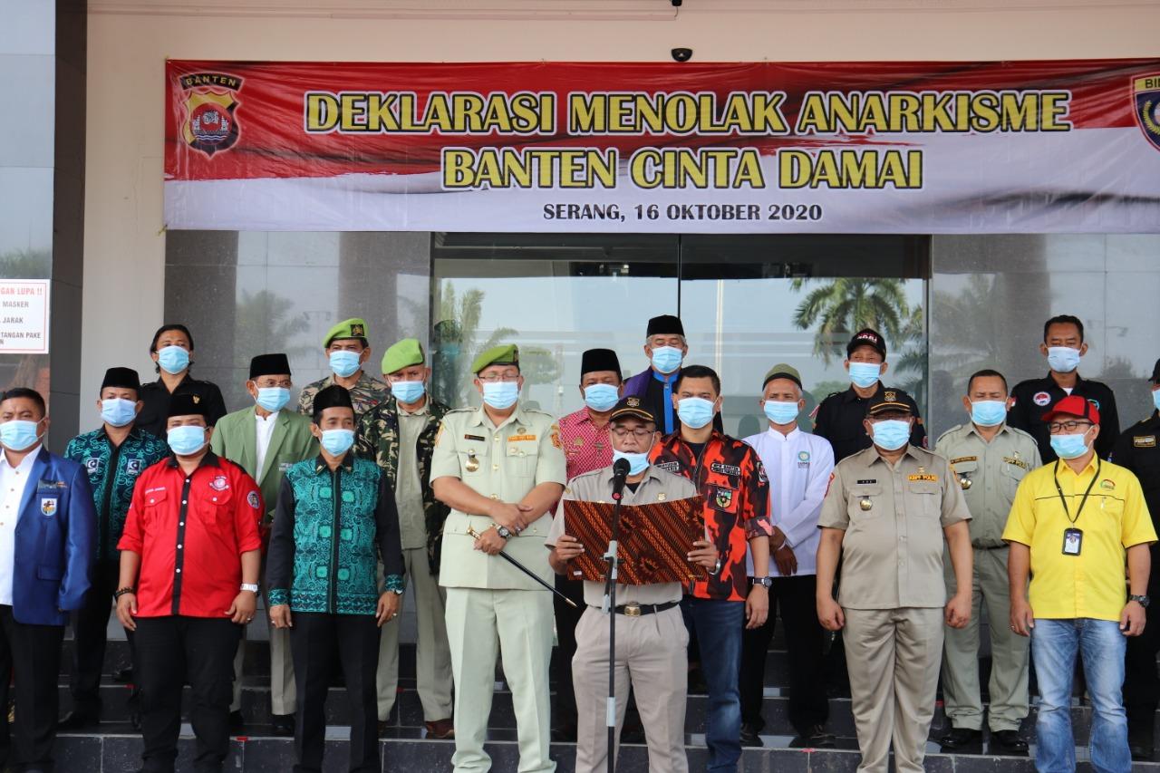 Ulama dan OKP Kompak Deklarasi Cinta Damai Tolak Anarkisme Di Polda Banten