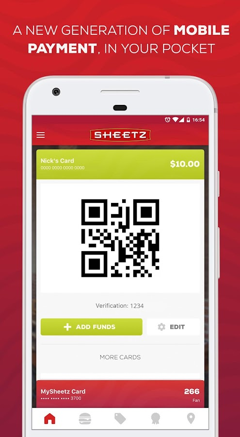 The Sheetz Visa credit card includes offers and rewards. Use the Sheetz mobile app to check your transactions, account balance, and to pay your credit card bill.