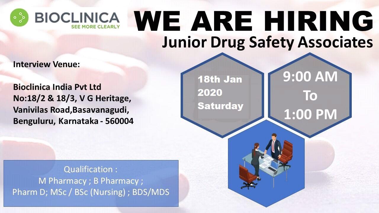 BIOCLINICA LTD - Walk in interview for Junior Drug Safety on 18th Jan 2020