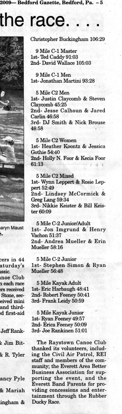 2009 Race Article & Results