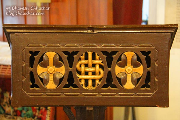 Carvings on the pulpit of St. Mary's Church, Pune
