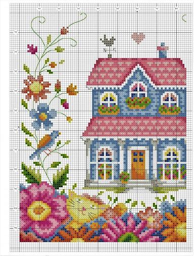Schema per quadretto a punto croce casetta tra i fiori