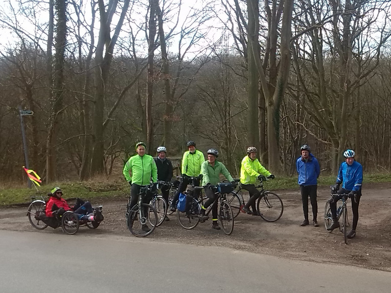 Eight riders stop under bare trees