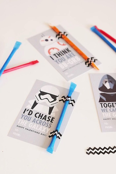 Star wars storm trooper pixie stick valentine