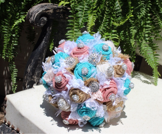 GypsyFarmGirl Blush Pink And Turquoise Burlap Wedding Bouquets