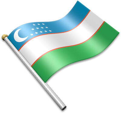 The Uzbekistani flag on a flagpole clipart image