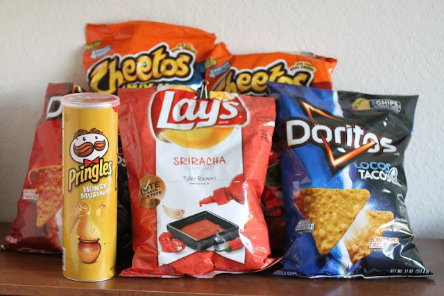 Doritos Locos Tacos flavored Doritos, Doritos Jacked, Doritos Dinamita, Cheetos Mix-Up Cheezy Salsa, and Pringles Honey Mustard
