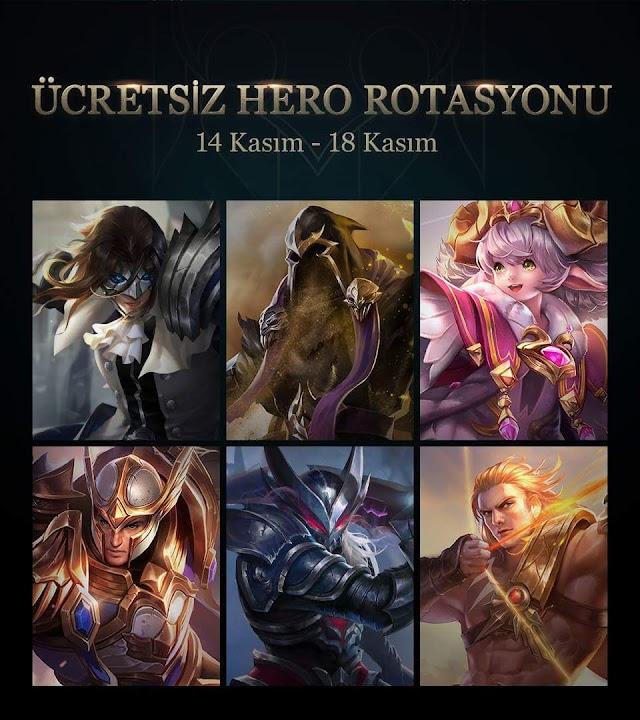 Arena of Valor 14 - 18 Kasım Ücretsiz Kahraman Rotasyonu