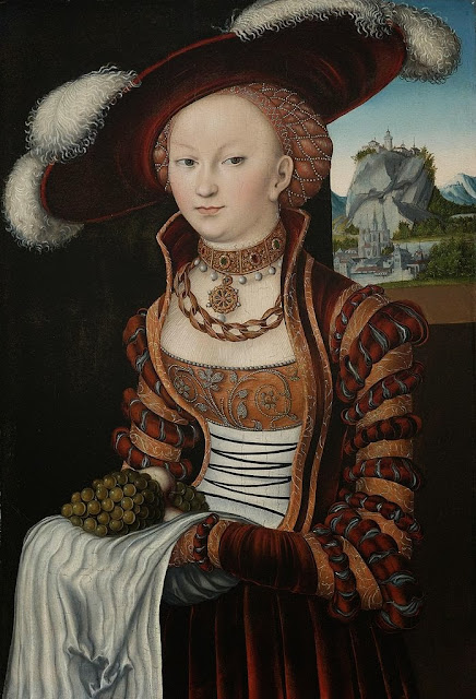 Lucas Cranach the Elder - Portrait of a Young Woman Holding Grapes and Apples, 1528