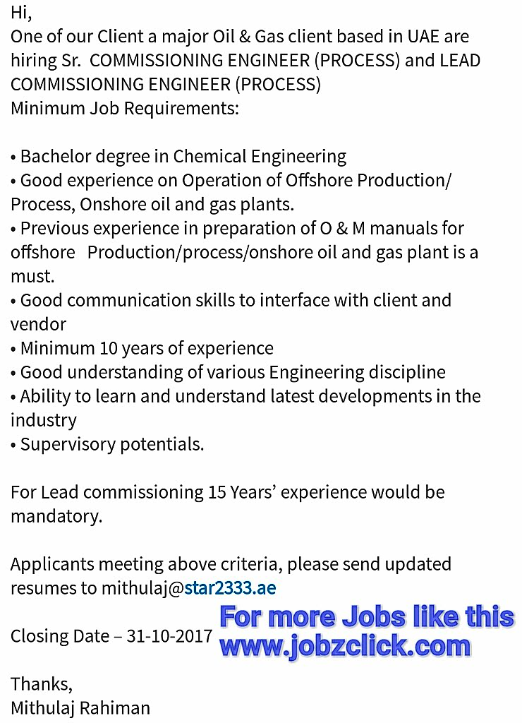 Oil and Gas, Engineering Jobs Commissioning Engineer (Process)