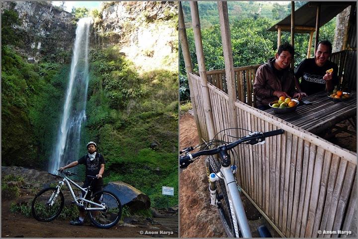 Air terjun Coban Rondo (kiri). Pesta jeruk di Bedengan (kanan)