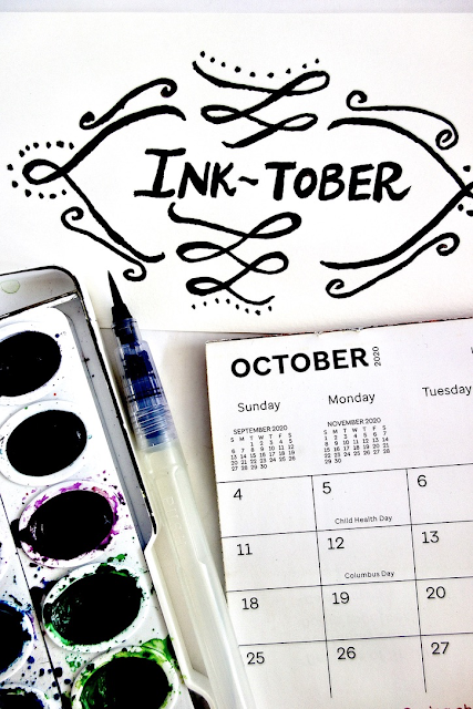 Inktober, Inktober2020, watercolor, calligraphy, hand lettering, brush lettering, watercolor, water brush, watercolor paper, handmade, crafts, blah to TADA, make art everyday, October, calendar
