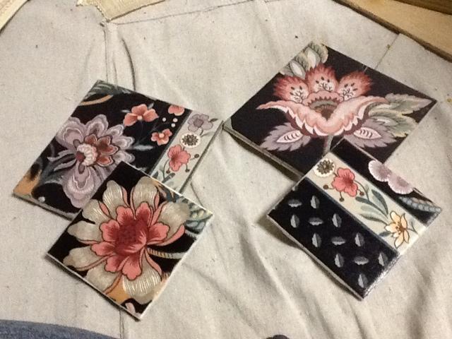 black, floral, ceramic, coaster