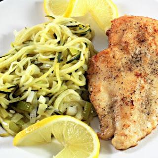 Chicken with Lemon Leek Zucchini Noodles.