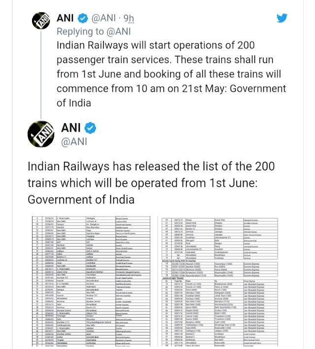 viral update: रेलवे ने जारी की एक जून से चलने वाली 200 ट्रेनों की लिस्ट, 21 मई से टिकट बुकिंग, स्पेशल शताब्दी की भी तैयारी ।