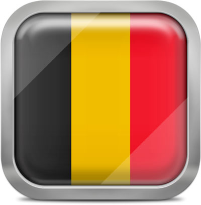 Belgium square flag with metallic frame