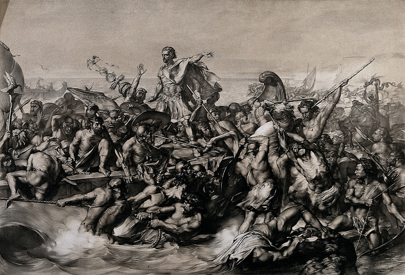 Caesar's_first_invasion_of_Britain;_Caesar's_boat_is_pulled_Wellcome_V0048276