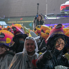 Rainy Celebration by VAM Photography - Public Holidays New Year's Eve ( rain, culture, weather, nyc, times square, people, new york )