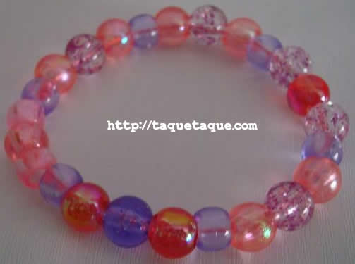 pulsera multicolor: roja, rosa, blanca, violeta