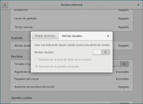 Configurar el sistema. Accesibilidad en Linux y otros. Alertas visuales.