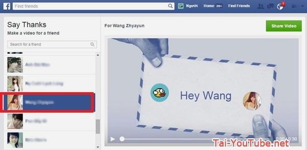 Hình 2 - Cách tạo video cảm ơn bạn trên Facebook