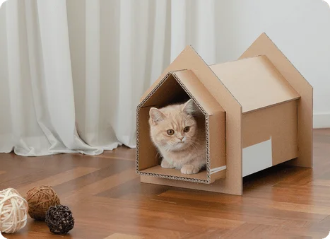 DIY pet house using upcycled materials