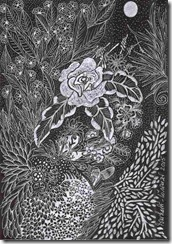 395 Silver Zentangle Rose