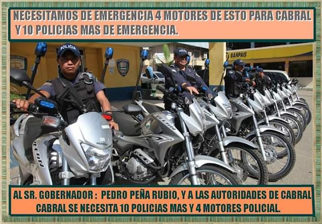 JUVENTUD DE CABRAL PIEDE EN LAS REDES SOCIALES 4 MOTORES POLICIAL Y 10 POLICIAS MAS PARA CABRAL