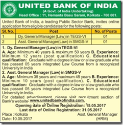 United Bank of India Recruitment 2017 www.indgovtjobs.in