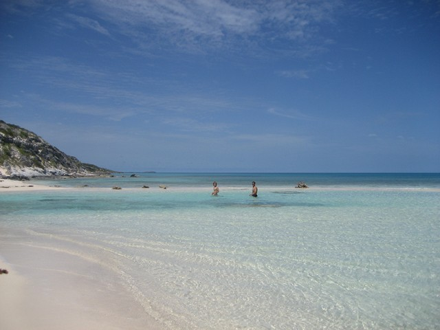 Natural sandy pool at Water Cay cut