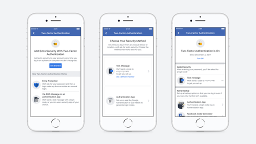 Facebook  won't request for Phone Number for two-factor Authentication Anymore. 1
