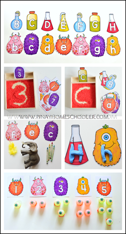 Halloween Themed Monster Letter and Number Cards