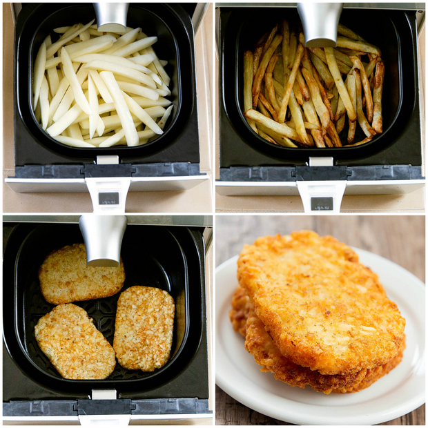 a photo collage showing different ingredients to cook in the air fryer. Photo 1 shows raw french fries Photo 2 shows cooked french fries, Photo 3 shows frozen hashbrowns and Photo 4 shows cooked hashbrowns on a white plate