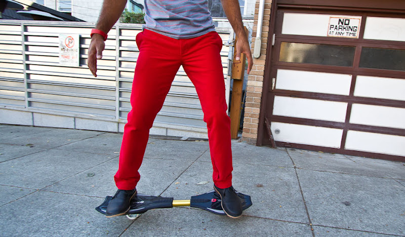 Red Cordarounds on Skateboard