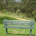 Blue Mountains National Park sign at track head (41775)