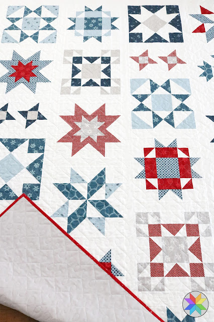 Clear Sky quilt made with Winterland fabrics - modern star sampler pattern by Andy of A Bright Corner