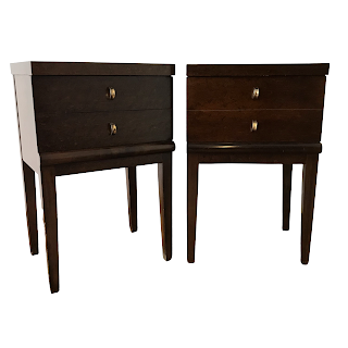 Mid-Century Modern Burlwood End Table Pair