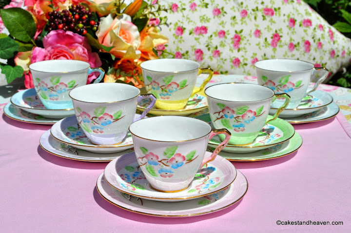 Royal Stafford Hand Painted Harlequin Trios