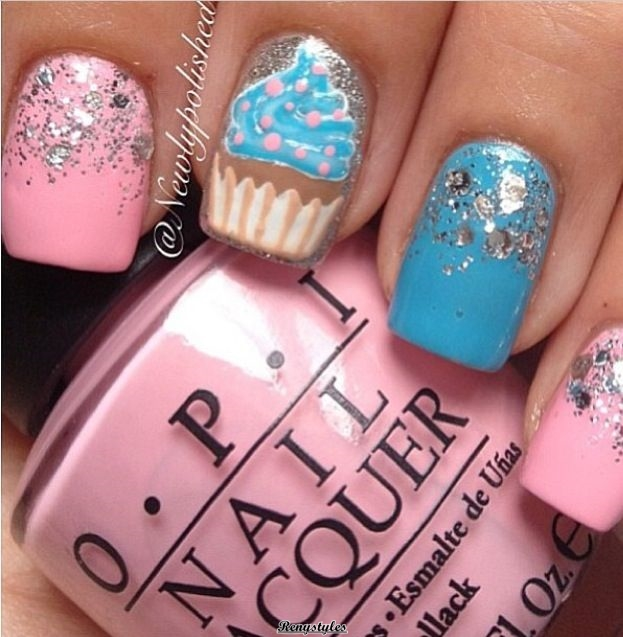 They are amethyst and abysmal blooming as basal colors which are lighter  than the hue of cupcakes. You can accept amber frosting or Strawberry  frosting and ... - Cupcake Nail Art Ideas Newest Look - Reny Styles