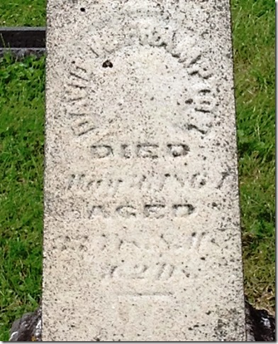 FRAMPTON_David_headstone_son of Isaac & Jane_1832-1861_BurlingtonGreenCem_BurlingtonOH_crop